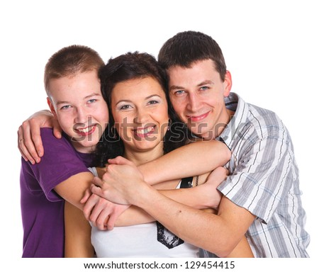 Happy family. Father, mother and boy. Over white background - stock photo