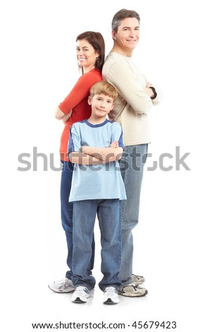 Happy family. Father, mother and boy over white background - stock photo