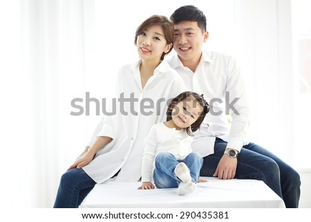 Happy family. Father, mother and children.  - stock photo