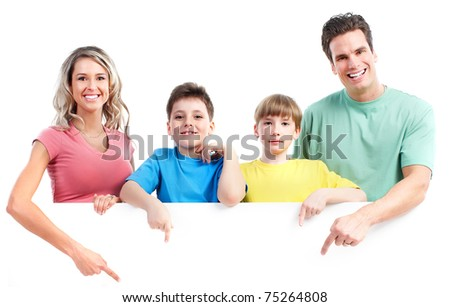 Happy family. Father, mother and children. Isolated over white background. - stock photo