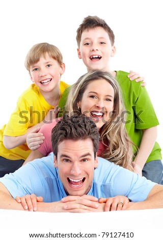 Happy family. Father, mother and children isolated over white background.