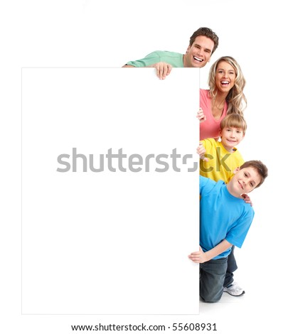 Happy family. Father, mother and children. Over white background - stock photo