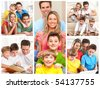 Happy family. Father, mother and children working with laptop and reading. - stock photo