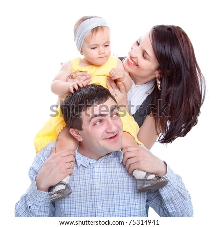 Happy family. Father, mother and little baby. Studio shot - stock photo
