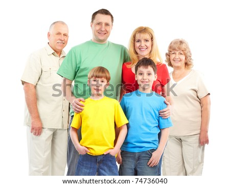 Happy family. Father, mother, children and grandparents. - stock photo