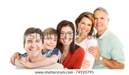 Happy family. Father, mother, children and grandparents.