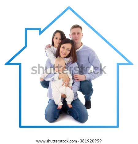 happy family - father, mother, daughter and son in blue house isolated on white background