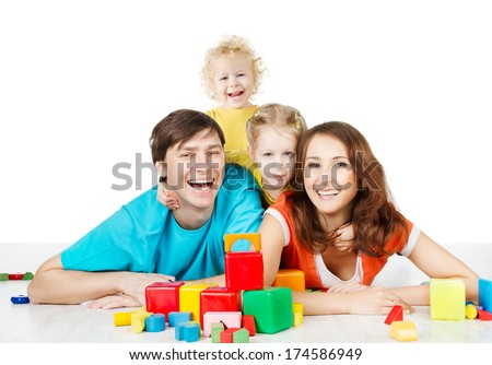 happy family four persons, parents and kids, smiling father mother and laughing son daughter lying over white background  - stock photo