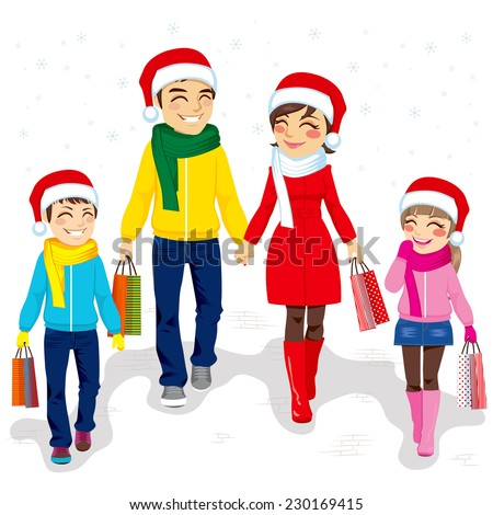Happy family going Christmas shopping together with Santa Claus hats and holding bags - stock photo