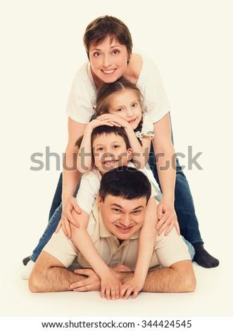 happy family group people portrait - stock photo
