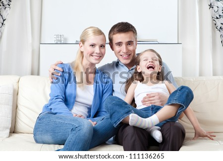 Happy family has a rest - stock photo