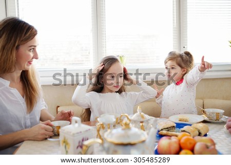 happy family has breakfast in the morning - stock photo
