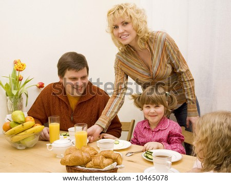 Happy family have a breakfast