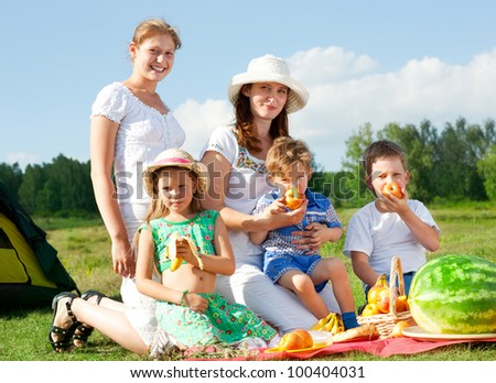 happy family have a picnic outdoor