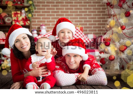 Happy family having fun at home. Christmas Xmas winter holiday concept