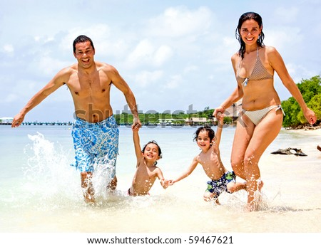 happy family having fun on holidays - togetherness concept - stock photo