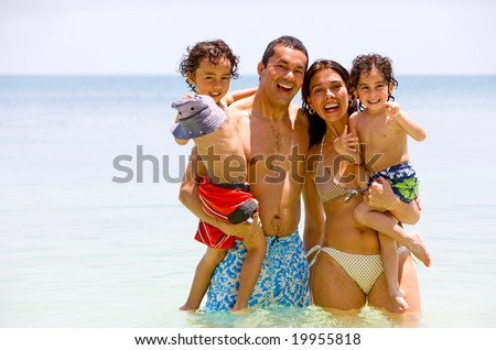 happy family having fun on vacation - togetherness concept - stock photo