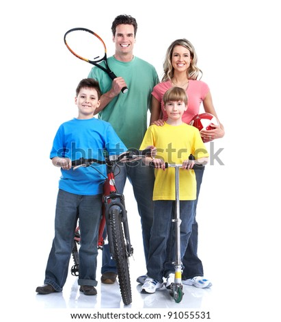 Happy family. Healthy lifestyle. Over white background. - stock photo