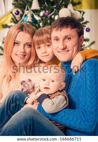 happy family  holiday portrait - stock photo