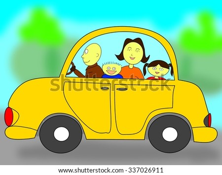 Happy family in a car - stock photo