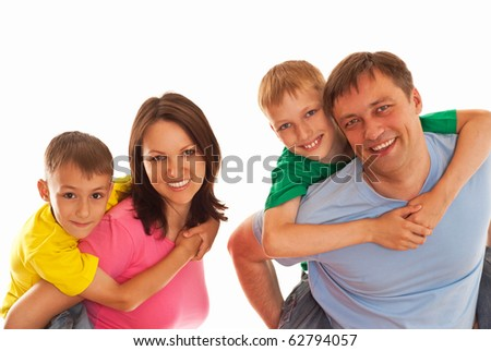 happy family in a color clothes on a white background