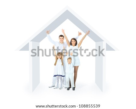 Happy family in a house. Isolated over a white backgroun - stock photo