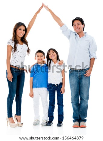 Happy family in a safe home - isolated over white background  - stock photo
