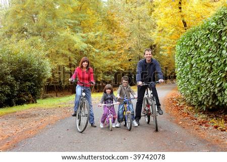 happy family in bike - stock photo