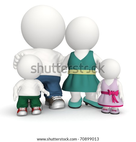 Happy family in 3D - isolated over a white background