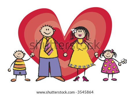 HAPPY FAMILY in light skin tone (raster) - cartoon illustration - stock photo