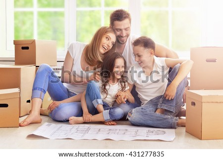 happy family in new home - stock photo
