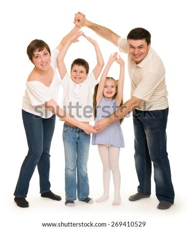 happy family in studio - stock photo