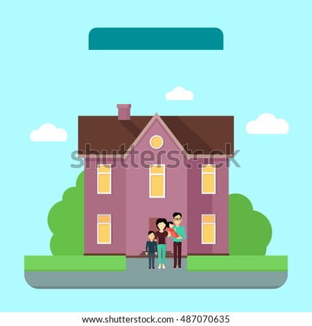 Happy family in the yard of their house. Home icon symbol sign. Colorful residential cottage in violet colors. Part of series of modern buildings in flat design style. Real estate concept.