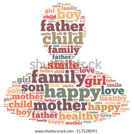 Happy Family info-text graphics and arrangement concept on white background (word cloud)