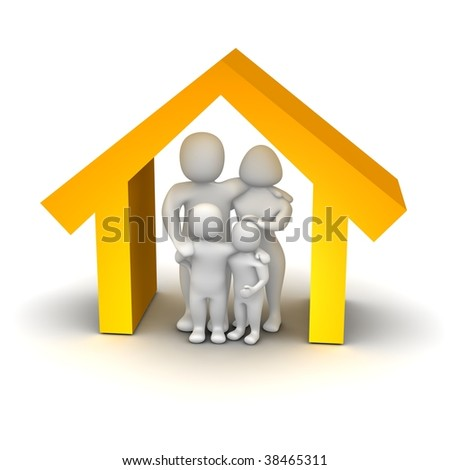 Happy family inside house. 3d rendered illustration. - stock photo