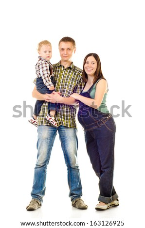 happy family isolated on a white background - stock photo