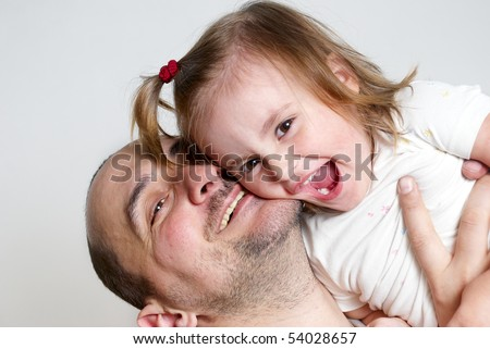 Happy family isolated on light background