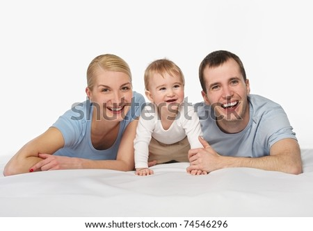 Happy family isolated on white background - stock photo