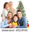 Happy family. Isolated over white background - stock photo