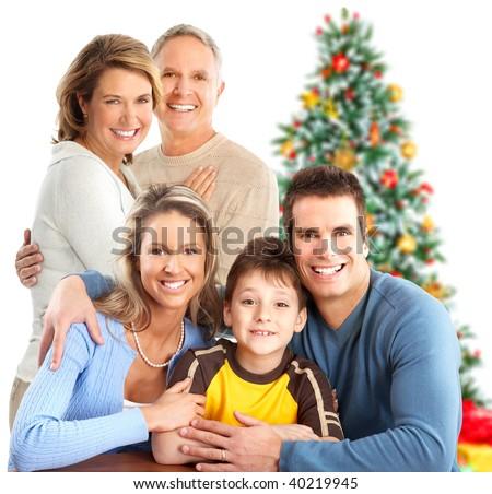 Happy family. Isolated over white background - stock photo