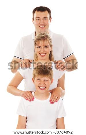 Happy family isolated over white background - stock photo