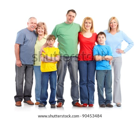 Happy family. Isolated over white background. - stock photo