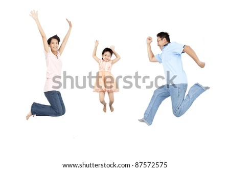happy family jumping and isolated on white background