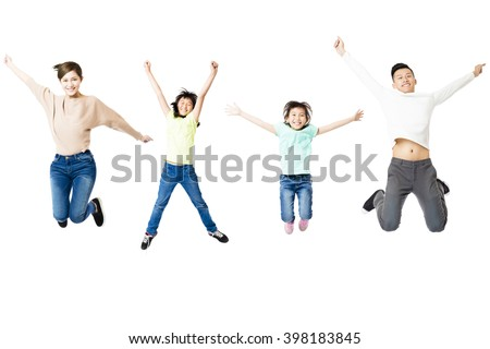 happy family jumping together isolated on white - stock photo