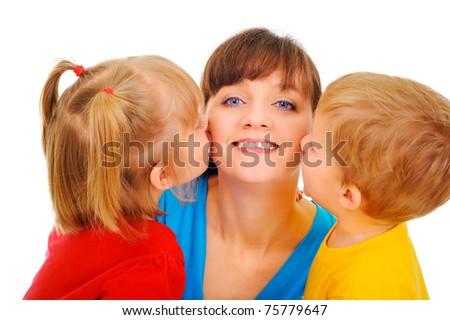 Happy family kiss - stock photo