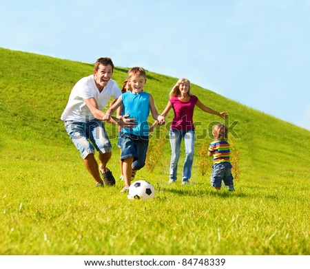 Happy family lifestyle - stock photo