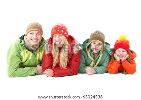Happy family members looking at camera with smiles over white background - stock photo