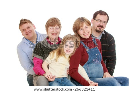 Happy family mom dad grandma brother and sister.- isolated on white background - stock photo
