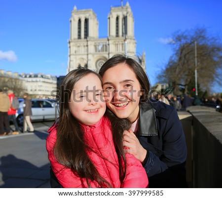 Happy family moments in Paris City - stock photo