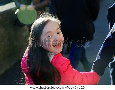 Happy family moments in the city - stock photo